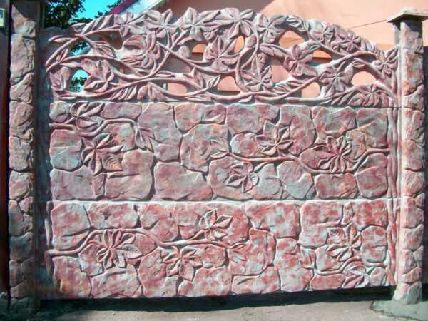 Забор бетонный  панель «Листья»  1940*490*40